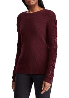 Lauren Ralph Lauren Lace-Up Velvet Sweater