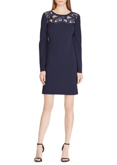 Lauren Ralph Lauren Lace-Yoke Jersey Dress