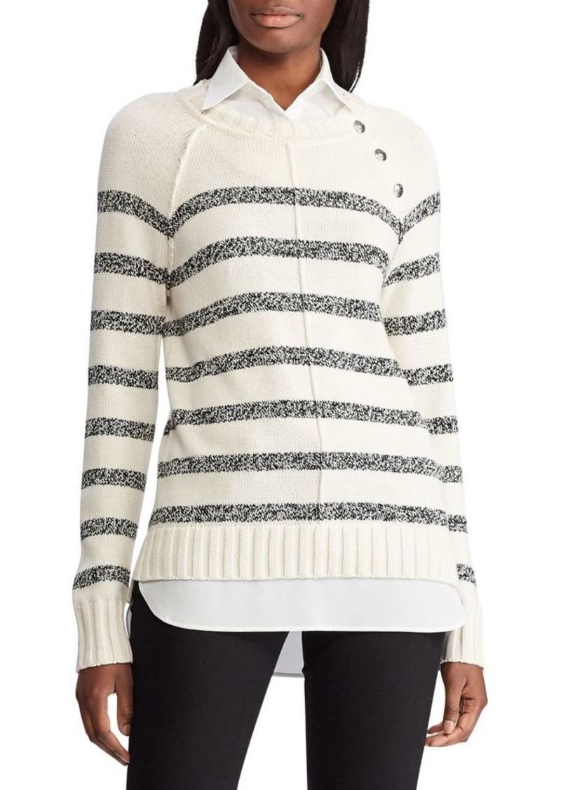 Lauren Ralph Lauren Layered Cotton-Blend Twofer Sweater