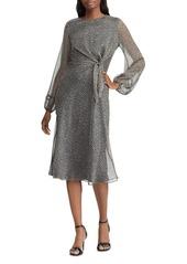 Lauren Ralph Lauren Leaf Print Blouson Sleeve Dress