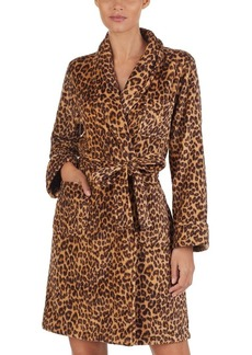 Lauren Ralph Lauren Leopard Print Fleece Short Robe