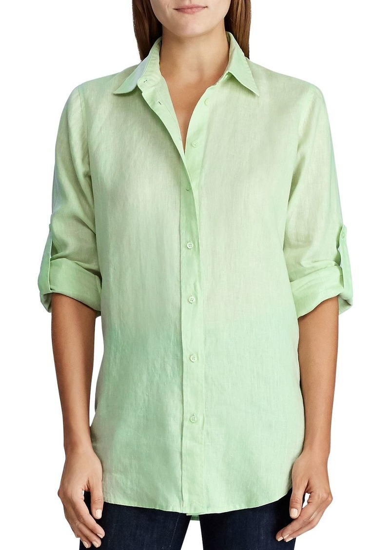 Lauren Ralph Lauren Linen Button-Down Roll-Tab Shirt