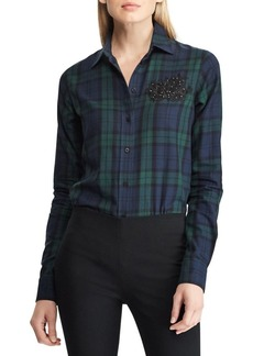 Lauren Ralph Lauren Logo Patch Tartan Relaxed-Fit Cotton Button-Down Shirt