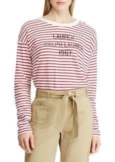 Lauren Ralph Lauren Logo Striped Terry Sweatshirt