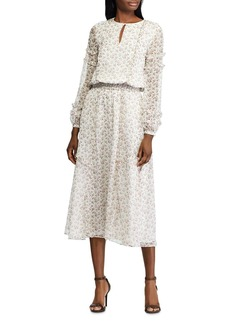 Lauren Ralph Lauren Long-Sleeve Floral-Print Dress