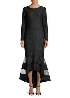 Lauren Ralph Lauren Long Sleeve Lace Trumpet Gown
