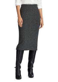 Lauren Ralph Lauren Merino Wool Houndstooth Plaid Skirt