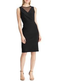 Lauren Ralph Lauren Mesh-Trimmed Jersey Sheath Dress