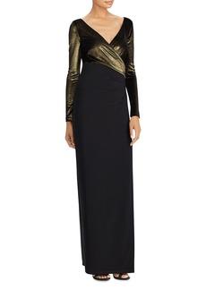 Lauren Ralph Lauren Metallic-Bodice Gown
