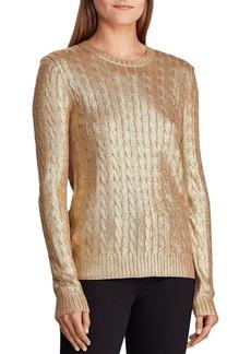 Lauren Ralph Lauren Metallic Cable Knit Sweater