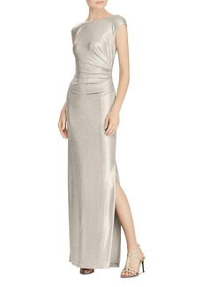 Lauren Ralph Lauren Metallic Cowl-Back Gown