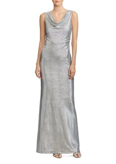 Lauren Ralph Lauren Metallic Cowl Neck Gown
