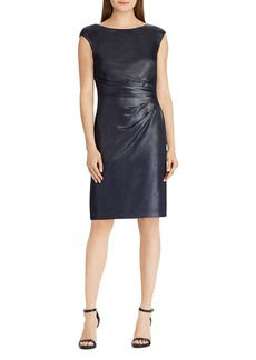 Lauren Ralph Lauren Metallic Crepe Sheath Dress