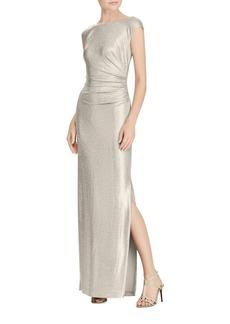 Lauren Ralph Lauren Metallic Cutout-Back Gown