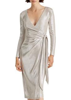 Lauren Ralph Lauren Metallic Faux-Wrap Dress