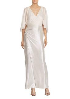 Lauren Ralph Lauren Metallic Faux-Wrap Gown