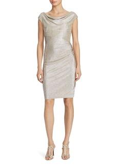 Lauren Ralph Lauren Metallic Knit Cowl Neck Dress