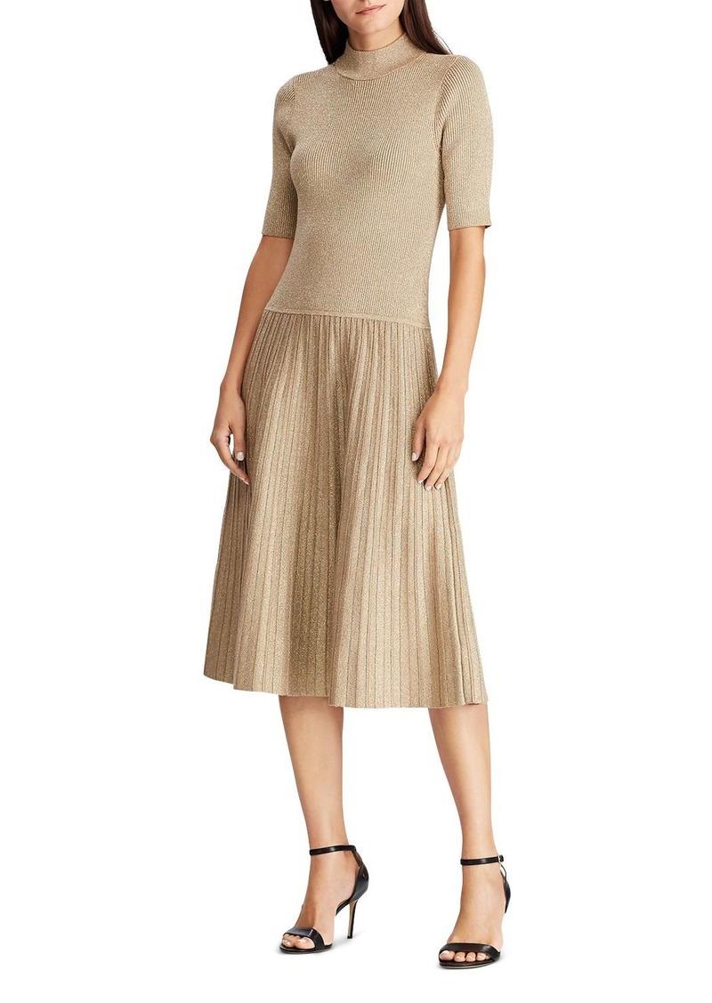 Lauren Ralph Lauren Metallic Knit Mock Neck Dress