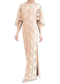 Lauren Ralph Lauren Metallic Lace Quarter-Sleeve Evening Gown