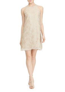 Lauren Ralph Lauren Metallic Leaf Shift Dress