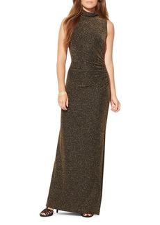 Lauren Ralph Lauren Metallic Mock Neck Gown