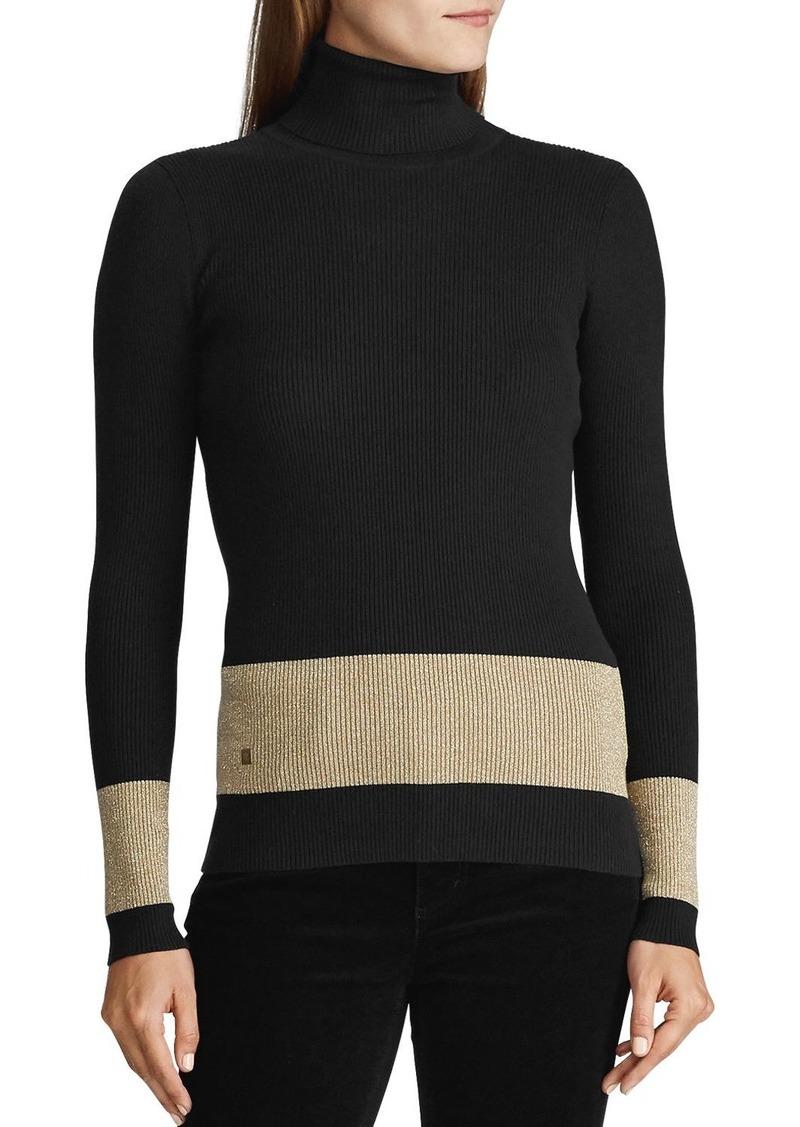 Lauren Ralph Lauren Metallic-Stripe Turtleneck Sweater