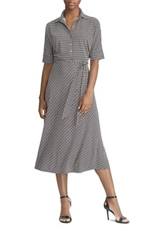 Lauren Ralph Lauren Micro-Houndstooth Midi Dress