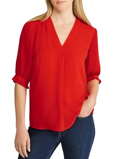 Lauren Ralph Lauren Micro-Pleated V-Neck Georgette Top