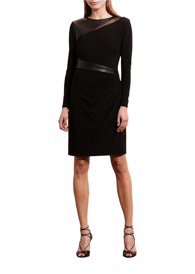 Lauren Mixed Media Long Sleeve Jersey Dress Ralph