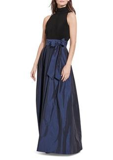 Lauren Ralph Lauren Mixed Media Mock Neck Gown