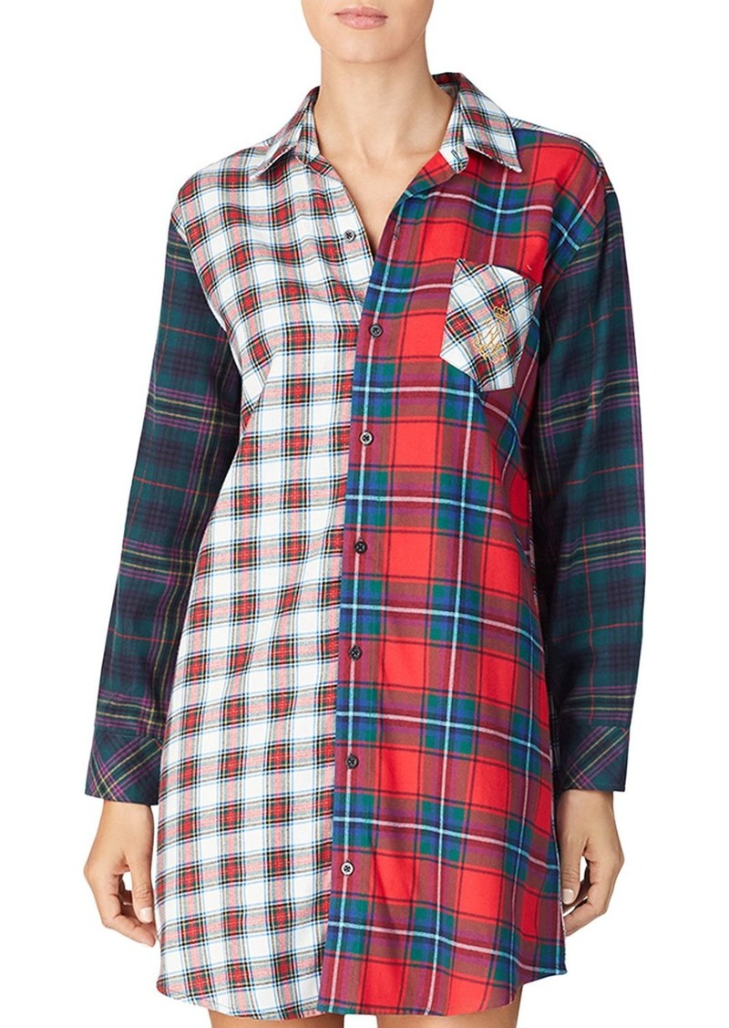 Lauren Ralph Lauren Mixed Plaid Cotton Twill Sleepshirt