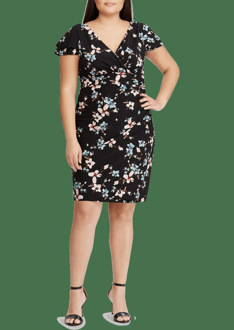 Lauren Ralph Lauren Navy Floral Ruched Jersey Dress