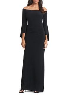 Lauren Ralph Lauren Off-The-Shoulder Bell-Sleeve Gown