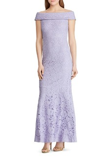 Lauren Ralph Lauren Off-the-Shoulder Lace Gown