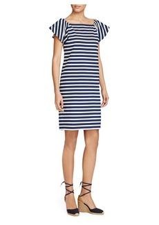 Lauren Ralph Lauren Off-the-Shoulder Striped Dress