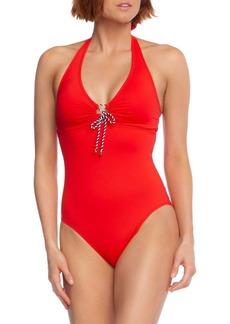 Lauren Ralph Lauren One-Piece Ruched Front-Tie Halter Swimsuit