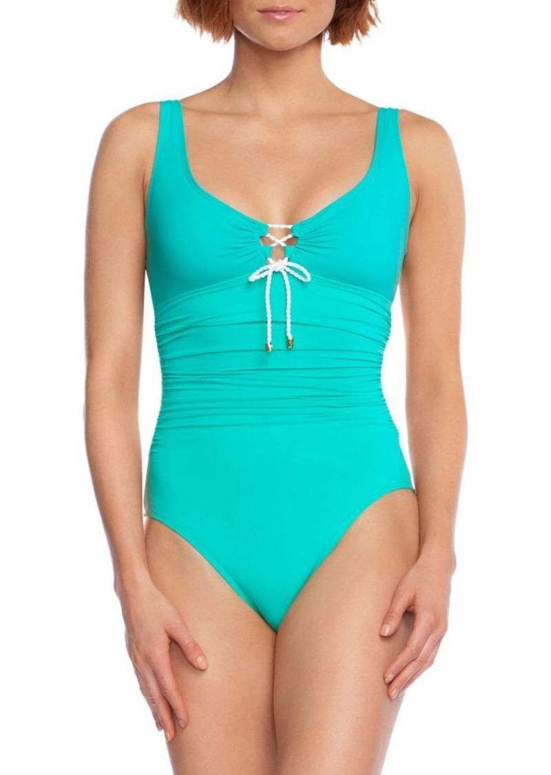 Lauren Ralph Lauren One-Piece Ruched Front-Tie Swimsuit