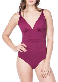 Lauren Ralph Lauren One-Piece Ruched Swimsuit