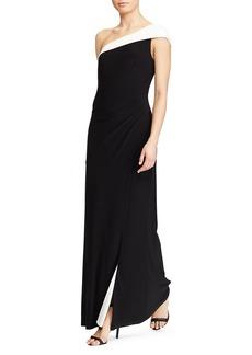 Lauren Ralph Lauren One Shoulder Color Block Gown - 100% Exclusive