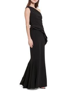 Lauren Ralph Lauren One-Shoulder Evening Gown