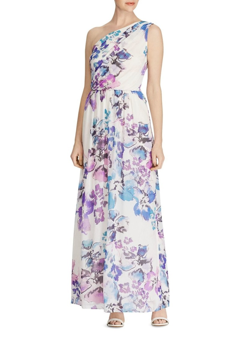 Lauren Ralph Lauren One-Shoulder Floral Georgette Gown