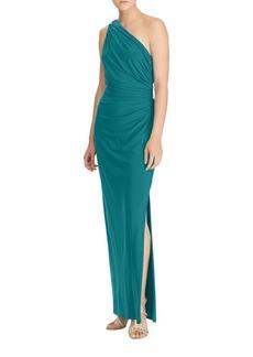Lauren Ralph Lauren One-Shoulder Jersey Gown
