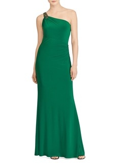 Lauren Ralph Lauren One-Shoulder Jersey Gown