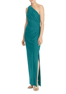 Lauren Ralph Lauren One Shoulder Ruched Gown with Brooch