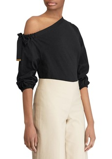 Lauren Ralph Lauren One-Shoulder Tied Top