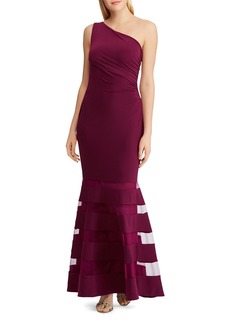 Lauren Ralph Lauren One-Shoulder Tulle-Inset Gown