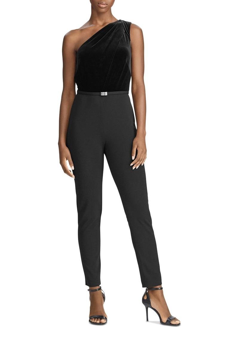 Lauren Ralph Lauren One-Shoulder Velvet Jersey Combo Jumpsuit