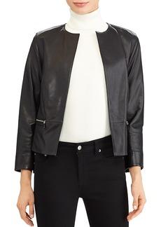 Lauren Ralph Lauren Open Front Leather Jacket
