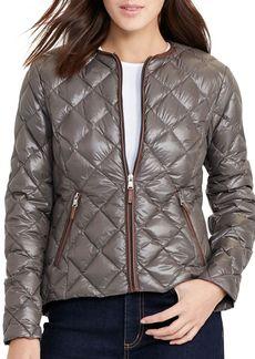 Lauren Ralph Lauren Packable Collarless Diamond Quilted Jacket
