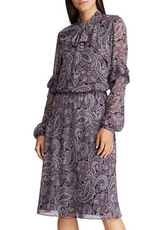 Lauren Ralph Lauren Paisley-Print Tie-Neck Dress
